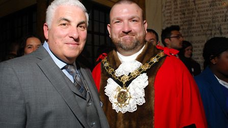 Mayor of Camden, Cllr Jonathan Simpson with Mitch Winehouse of the Amy Winehouse Foundation