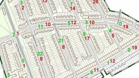 This diagram shows the Rectory Road area (R Zone) under the previous council policy where it is not