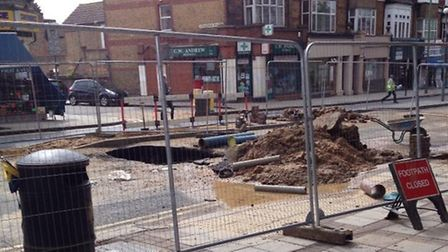 The site of the burst water main in East Finchley. Picture: Twitter/@CllrArjunMittra.