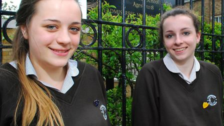 Hope Eley, 15, and Olivia Howe, 14, at Channing School. Picture: Polly Hancock.