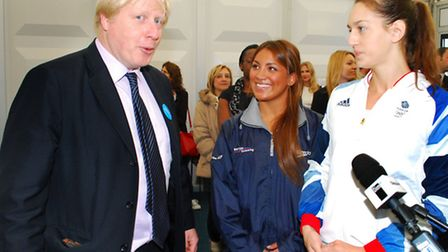 Mayor of London Boris Johnson chats with Team GB sychronised swimmer Katie Dawkins, and Jazmine Stan
