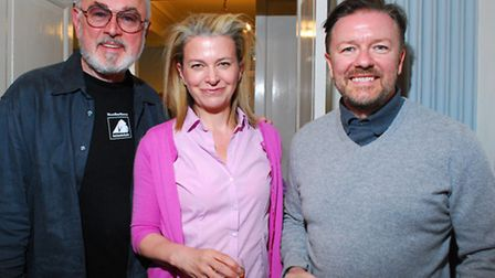 Peter Egan, Jane Fallon and Ricky Gervais at the Animals Asia benefit at Burgh House. Picture: Polly