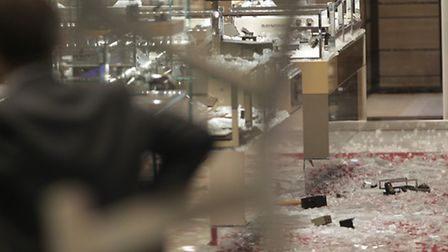 The scene after the robbery at Selfrdiges last week. Picture: Yui Mok/PA Wire