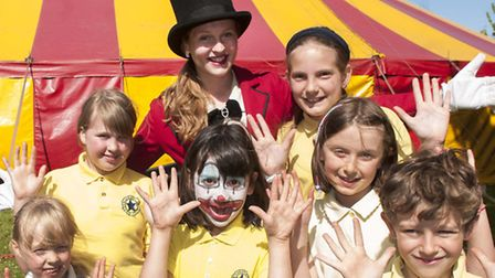 Garden Suburb Junior School pupils pictured with ringmistress Jessica Webb. Picture: Nigel Sutton.