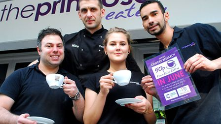Staff members including opertions manager Luke Rind (left) who will donate 50p from every coffee sol