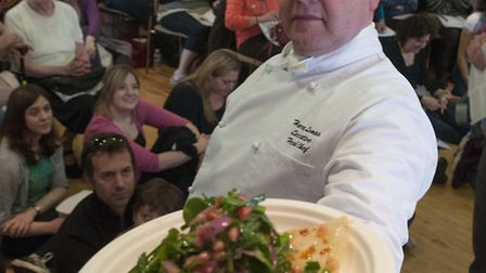 Judge Harry Lomas pictured with the winning cook-off dish. Picture: Nigel Sutton.