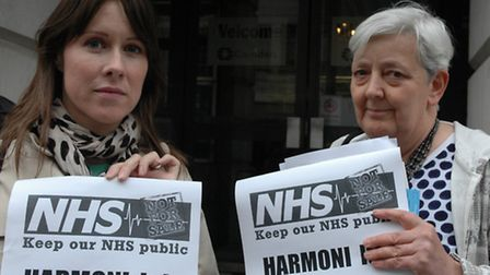 Linda Peanberg King with chair of Camden Keep our NHS public campaign group Candy Unwin at the Camde
