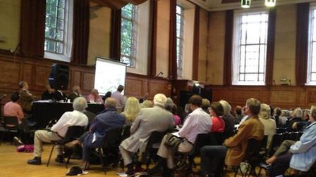 A full Cecil Sharp House in Primrose Hill for the meeting held in protest of the plans for the HS2 r