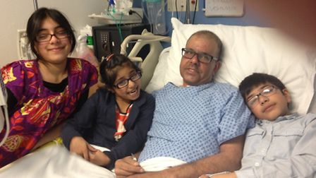 Solly with his children in Homerton Hospital