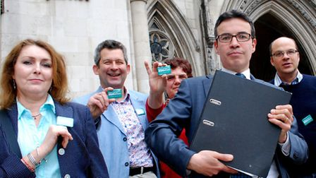 David Attfield (front, right) with supporters outside the Royal Courts of Justice. Picture: Polly Ha