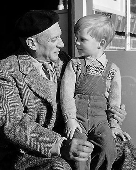 Picasso and Antony Penrose, Farley Farm House, Sussex, England, 1950. Picture: © Lee Miller Archives