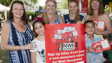 NW6 School campaigners canvassing for supporters at the Jester Festival in Fortune Green. Picture: N