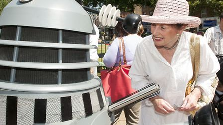 Actress Heather Downham who was a member of 'The Pink Army' in episodes of Dr Who, with a Dalek at J