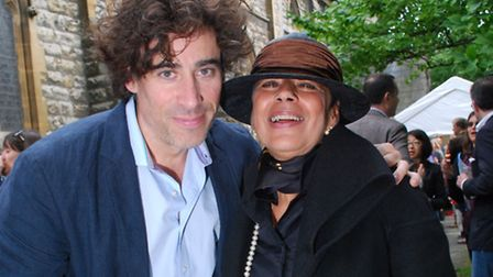 Headteacher Sheema Parsons OBE with guest, actor Stephen Mangan. Picture: Polly Hancock.