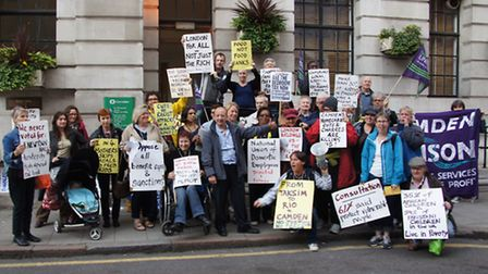 Protesters opposed to welfare reforms outside Camden Town Hall