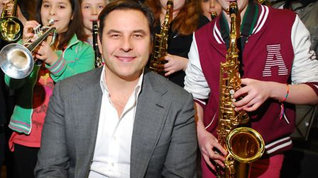 David Walliams, patron of Camden Music Trust, during a visit to Camden School for Girls in March. Pi
