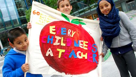 Year 5 pupils from Netley Primary School raising awareness of the Every Childs needs a Teacher campa