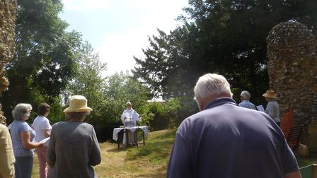 A day of celebration at Blythburgh saw an open-air service led by the Rev Malcolm Doney. Pictures: D