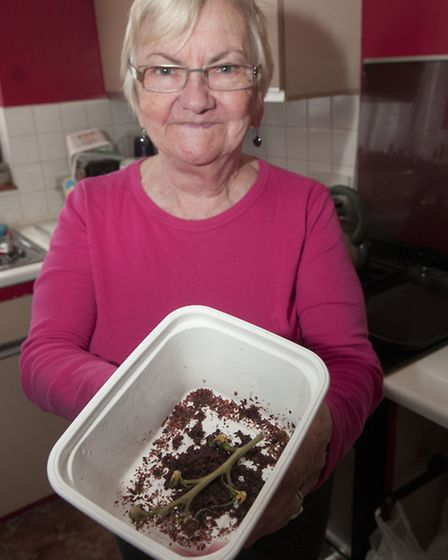 Carol Thomas throws away a kilogram margarine container of rubbish a month. Picture: Nigel Sutton