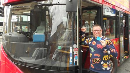 Passer-by Alistair McIntosh with the broken down bus