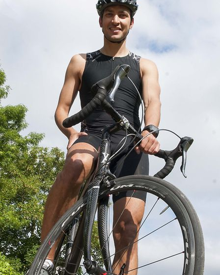 Steven Diffey will cycle, swim and run 120 miles to the popular music festival to raise money for ch