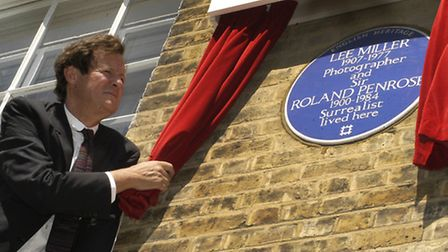The blue plaque commemorating Sir Roland Penrose and Lee Miller in Downshire Hill. Picture: Nigel Su