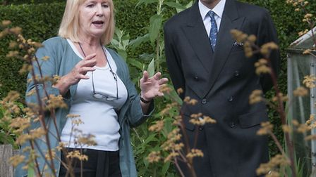 Prince Edward, Earl of Wessex with Diane Berger in her garden. Picture: Nigel Sutton.