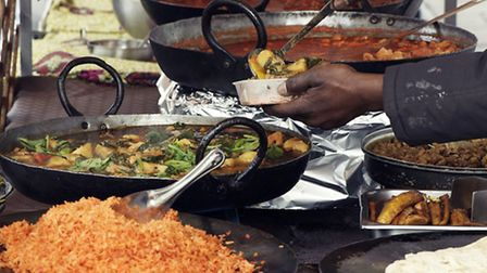 Nigerian food is dished up at Hoxton Street Market. Picture: Joe Woodhouse