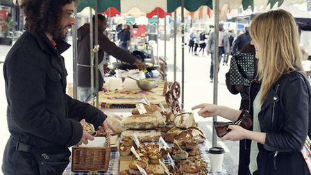 New trader Omer Adulam of deli Hackney Belly serves up some sweet and savoury treats at Hoxton Stree