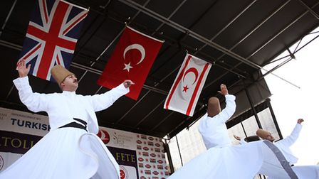 The Whirling Dervishes perfom in the closing ceremony at the 7th Anatolian Cultural Fete in Clissold