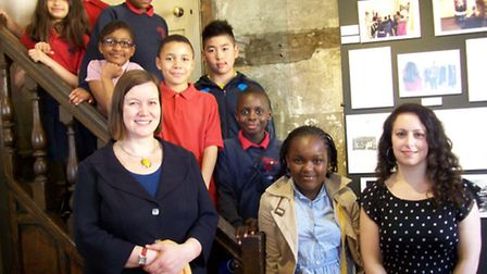MP Meg Hillier with the pupils at the launch of their photography exhibition in Sutton House