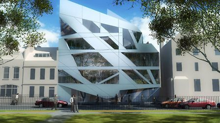 The drawing show what the Zaha Hadid-sdesigned building in Hoxton Square would look like