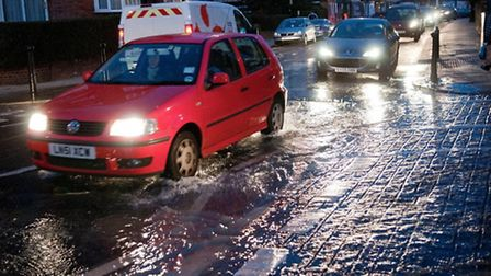 A burst water main in Wast Hampstead earlier this year. Picture: Nigel Sutton