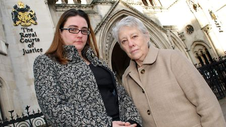 Cllrs Sarah Hayward and Valerie Leach outside the Royal Courts of Justice in December 2012. Picture: