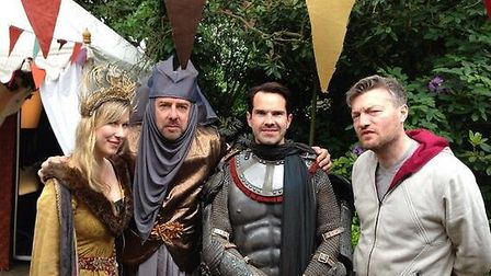 Jimmy Carr (second right) went all out in full body armour but Charlie Brooker (right) didn't bother