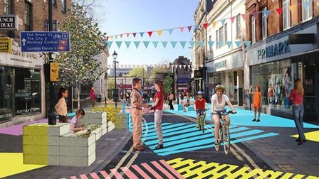 A mock-up of what the Narrow Way/ Mare Street after pedestrianisation. The council claims it will br