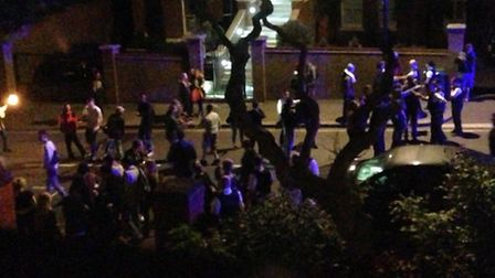 The scene at about 1.30am after some youths had been moved down Arkwright Road