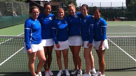 Left to right: Cumberland's Naomi Cavaday, Anne Keothavong, Becky Llewellyn, Kate Green, Frances Hen