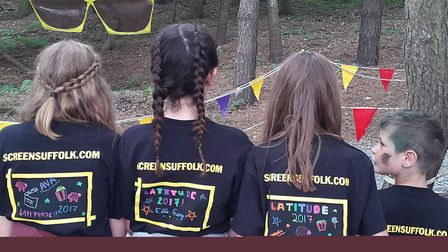 Youngsters who took inspiration away from the Screen Suffolk tent at Latitude. Picture: RACHEL TUCKE