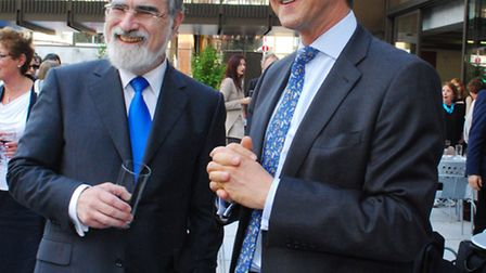 Chief Rabbi Lord Jonathan Sacks and Nick Viner, chief executive of JW3, at a reception at the JW3 ce