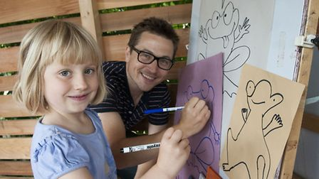 Children's author and illustrator Algy Craig-Hall pictured with his daughter, Madeleine, at the Mont