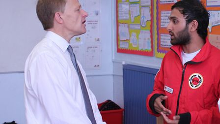 David Laws, visited Sebright Primary School in Hackney and spoke to City Year corps member Nahid Haq