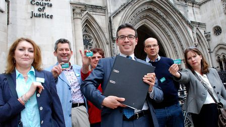 David Attfield (front, centre) with supporters outside the Royal Courts of Justice earlier this mont