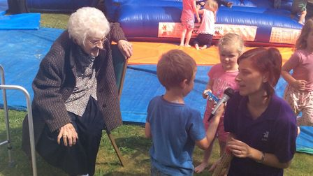 Resident Doreen Ludkin with members of the Trinity Methodist Church playgroup at the fun day, which