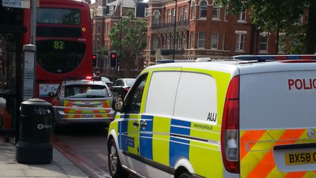 Police at the site of the accident in Finchley Road. Picture: Daniel Wittenberg