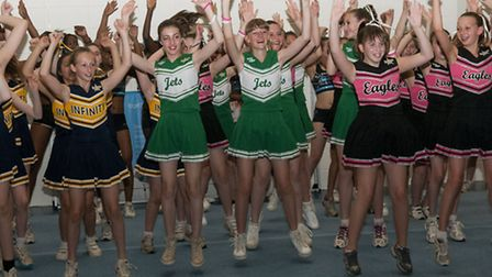 All three teams perform during the London Dance and Cheer Academy League at UCS Active. Picture: Nig