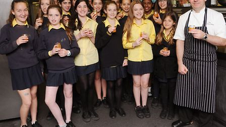 Year 8 girls from South Hampstead High School were given a cookery masterclass by head chef Darren V