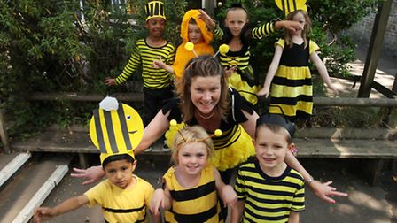 Teacher Amanda Williams with children of Jubilee Primary School, Stoke Newington, on the Bee Awarene