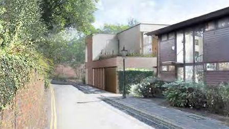 Artist's impression of the new house, looking east along Admiral's Walk
