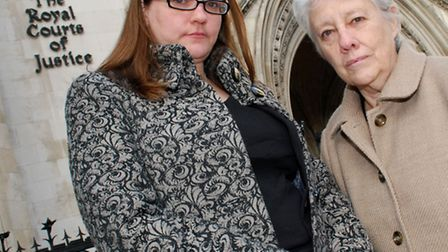Cllrs Sarah Hayward and Valerie Leach outside the Royal Courts of Justice in December 2012 for a jud